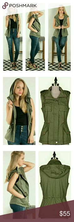 Military Style Vest Olive green military style vest with drawstring waist, front zipper and removable hood. Shell is 98%cotton/2% polyester and lining is 100% polyester. Comfy and versatile. Fashionomics Jackets & Coats Vests