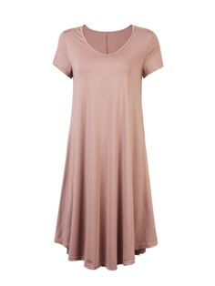 Casual Solid Color Irregular Hem Loose Dress Short Sleeve For Women