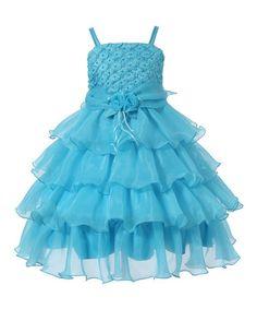 Look at this #zulilyfind! Light Blue Rosette Tiered Dress - Toddler & Girls #zulilyfinds