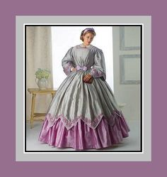 Civil War Ladies Dress-Historical Sewing Pattern-Boned-Fitted Bodice-Overskirt-Shaped Sleeves-Yo-Yos Trim-Chemisette-Uncut-Size 16-24-Rare by FarfallaDesignStudio on Etsy
