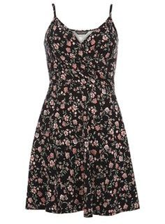 Black ditsy print wrap cami dress