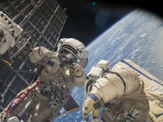 Russian Spacewalkers Outside Station