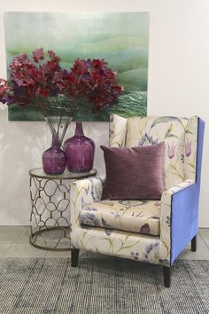 Custom made Kennedy Chair featuring a luxurious Castello fabric. Custom Made, Accent Chairs, Luxury, Fabric, Furniture, Home Decor, Upholstered Chairs, Tejido, Tela