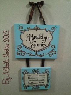 Birth announcment sign for hospital door and nursery decoration. One large canvas attached to smaller canvas, hand painted with added rhinestones and ribbon. Baby Boy Birth Announcement, Birth Announcements, Hospital Door Signs, Baby Door Hangers, Baby Bling, Pretty Room, Painting Of Girl, Cool Baby Stuff, Girl Stuff