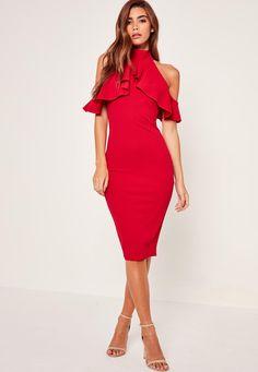 Missguided - Robe courte rouge à volant col montant et épaules dénudées