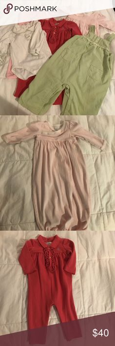 Ralph Lauren, Janie and Hartstrings Lot. 6M. Girl Ralph Lauren Gown - 6M, RL Long Romper 6M, Hartstrings longall -6-9M and Janie and Jack Overalls with long sleeve collared shirt 6-12M Janie and Jack One Pieces
