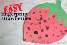 Easy Fingerprint Strawberries ~ Creative Family Fun