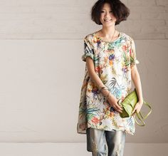 Loose Fitting Soft Cotton Long Shirt Blouse for Women by deboy2000, $69.00