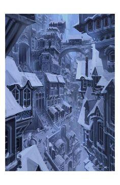 Official website of Visual Development artist Armand Serrano. Fantasy City, Fantasy Places, Fantasy World, Dark Fantasy, Fantasy Art Landscapes, Fantasy Landscape, Fantasy Concept Art, Fantasy Artwork, Art Et Illustration