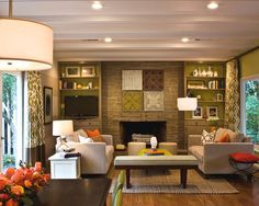 Modern Mid Century Modern Ranch Style House Design, Pictures, Remodel, Decor and Ideas. Pea green living room.