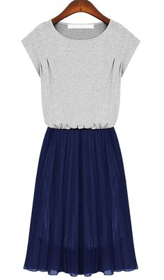Grey Short Sleeve Contrast Navy Chiffon Hem Beach Dress