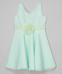 Look at this Mint Sparkle Flower Dress - Girls on #zulily today!