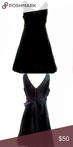 Plus Size 22 Black Sleeveless A-Line Dress David's Bridal plus size black formal A-Line sleeveless dress Style Number D02101. Size 22. Has ribbon that ties in the back. No stains, tears, or wear. It is lined with small petticoat at the bottom of the dress.   Measurements:   45 1/2 inches long from shoulder to bottom 42 inch bust  38 inch waist 50 inch hips  All items come from pet free and smoke free home. David's Bridal Dresses Midi