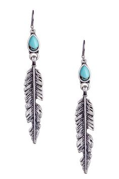Bezel Set Turquoise Calcite & Feather Dangle Earrings