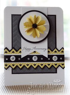 lovely card in yellow, black, gray and white...