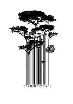 Barcode Trees illustration Art Print by Jane Hazlewood - X-Small Barcode Art, Barcode Design, Logo Design, Tree Illustration, Graphic Design Illustration, 21 Tattoo, Street Art Banksy, Tree Graphic, Communication Design
