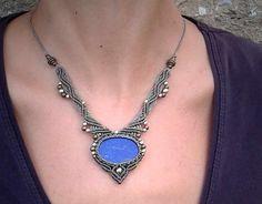 Macrame necklace with Lapis Lazuli Mod. Susana, boho jewelry, macrame jewelry, bohemian necklace, tribal necklace, necklace boho, gypsy
