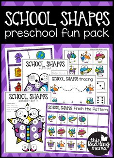 Back to School Preschool Pack - School Shapes - This Reading Mama Preschool At Home, Preschool Math, Kindergarten Worksheets, Worksheets For Kids, Preschool Shapes, Preschool Ideas, Reading Fluency Games, Phonics Activities, Hands On Activities