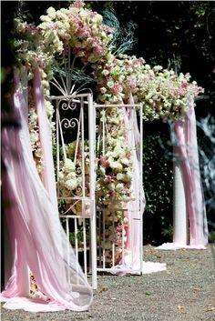 Lush pink garden ceremony by Sasha Souza Events