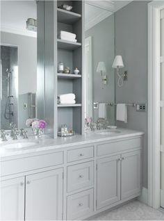 Pale blue bathroom by Jenny Wolf