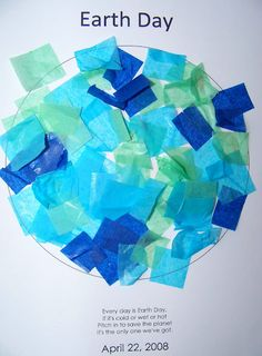 Earth Day Tissue Art with Template