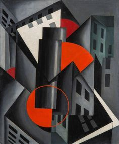 Louis Lozowick (American, Red Circle, Oil on canvasboard, 18 x 15 in. Charles Sheeler, Abstract Photos, Abstract Art, Futurism Art, Geometric Shapes Art, Georges Braque, Mid Century Art, Art Graphique, Oeuvre D'art