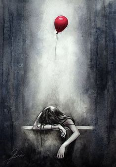 Illustration sadthis is how i feel sometimes and i am going to picture that red balloon as my sa… – illustration Depression Art, Sad Art, Red Balloon, Illustration, Oeuvre D'art, Painting & Drawing, Amazing Art, Fantasy Art, Cool Art