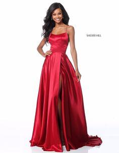 25cec5d47060 Sherri Hill Red Dress, Sherri Hill Prom Dresses, Red Silk Prom Dress, Satin