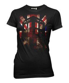 Another great find on #zulily! Black Union Jack TARDIS Tee - Juniors #zulilyfinds