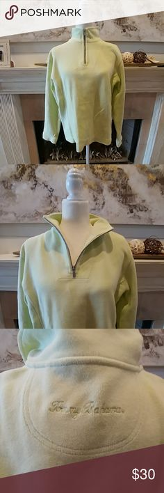 Tommy Bahama Pullover Key lime Green pullover with mock zip neck. EUC! Its warm & cozy! Tommy Bahama Tops Sweatshirts & Hoodies