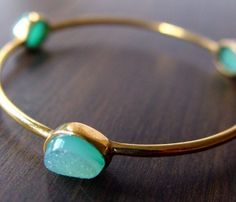 Mint Druzy Bangle - love the color of the stones
