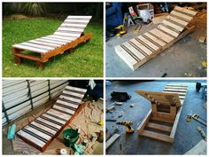 Pallet lounger made out of 2 pallets. I wanted to have a go at some pallet furniture and thought that a lounger would be a good place to start. This lounger was made by cutting two pallets in half, stripping the wood off the top of 1 of those pallets and rebuilding an adjustable frame into it with h…