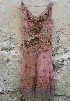 Enchantingly feminine, soft rosy brown and dusty pink slip dress uses the base of vintage viscose slip, reworked with antique and vintage cotton