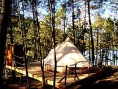 It's a Glamping time! Come and try our beautiful Bell-tent. With the stunning view to the river Lima. Escape, Evergreen Forest, Bell Tent, Camping Glamping, Stunning View, Beautiful, In The Tree, Logs, Campsite