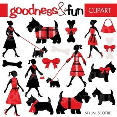 So so so cute! Buy 2 Sets, Get 2 Sets FREE - Digital Clipart - Stylin Scottie. $5.00, via Etsy.