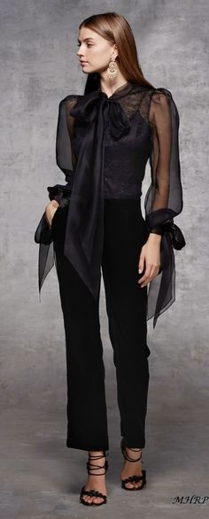 This stunning all black outfit with sheer blouse and flowing pants style could easily take the place of the little black dress! Fashion 2018, Look Fashion, High Fashion, Fashion Outfits, Womens Fashion, Fashion Design, Fashion Trends, Mode Style, Style Me