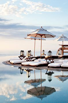 Our beautiful wooden 702 umbrella in paradise!    Photo Credit: Las Ventanas al Paraiso, A Rosewood Resort