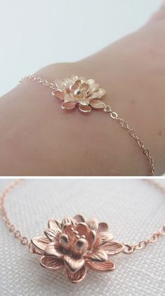 Rose Gold Lotus Blossom Bracelet, Dear God, I love and want this so bad!