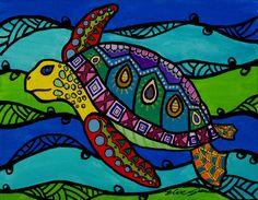 Hawaiian Honu~ Sea Turtle Art Print by Elise Jens   Society6