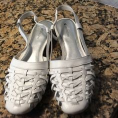 Naturalizer white woven leather flats.  NEVER WORN Very nice Naturalizer white leather flats.  Rubber soles.  Never worn.  Medium width.  One tiny spot on heel where I removed size sticker - see 4th pic.  022707 Naturalizer Shoes Flats & Loafers