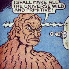 "Panel from unknown comic. Word balloon: ""I shall make all the universe wild and primitive. Comic Books Art, Comic Art, Book Art, Old Comics, Vintage Comics, Comics Girls, Manado, Caricature, Comic Book Panels"