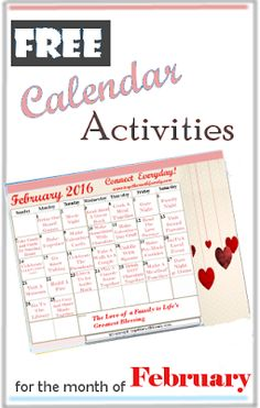 Free February Activities Calendar, great things to do together as a family