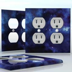 DIY Do It Yourself Home Decor - Easy to apply wall plate wraps | Beautiful Blue Nebula  Dark blue space image, beautiful universe picture  wallplate skin sticker for 2 Gang Wall Socket Duplex Receptacle | On SALE now only $4.95