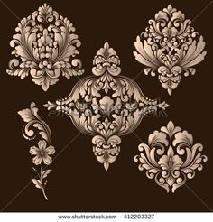 Vector set of damask ornamental elements. Elegant floral abstract for design. Perfect for invitations, cards etc.