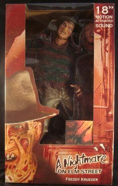 "A NIGHTMARE ON ELM STREET-18""-FREDDY KRUEGER-MOTION ACTIVATED-REEL-TOYS NECA-NEW"