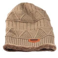 Stylish Beanie Hat Skully Hat Snow Ski Cap Winter Knit Hats for Men, Khaki