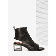 Jeffrey Campbell Mancuso Leather Bootie ($210) ❤ liked on Polyvore featuring shoes, boots, ankle booties, black, black leather bootie, black leather booties, black lace up boots, lace up ankle boots and faux leather booties