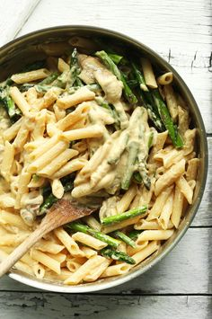 Creamy mushroom and asparagus pasta that's entirely gluten free and requires just 30 minutes to prepare! A hearty, quick, and flavorful plant-based meal.