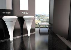 ISOLA Murano glass freestanding washbasin with led lighting set. Door Furniture, Glass Design, Design Awards, Murano Glass, Outdoor Lighting, Contemporary Style, Monochrome, Tub, Bathing