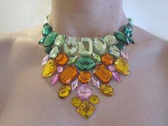 Colorful Rhinestone Bib Necklace Statement por SparkleBeastDesign